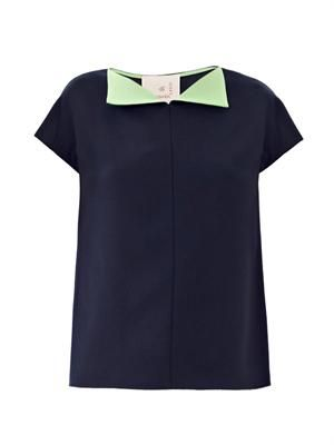 Mortimer contrast-collar crepe top