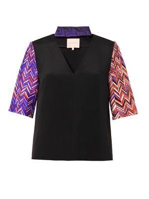Harlan printed-sleeve blouse