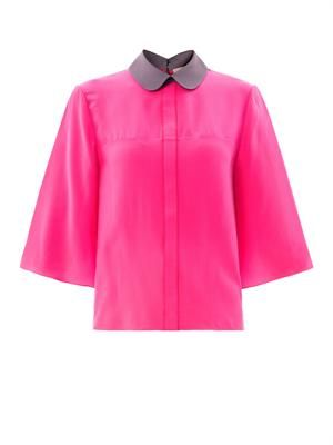 Hunter contrast collar silk blouse