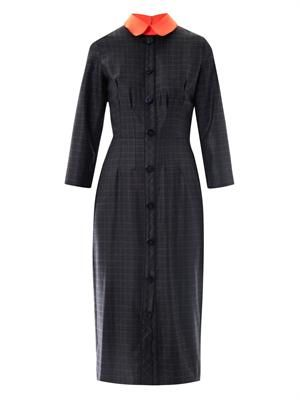 Lander check contrast collar dress