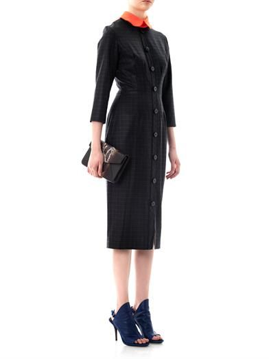 Roksanda Lander check contrast collar dress