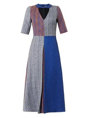Layne patchwork herringbone dress