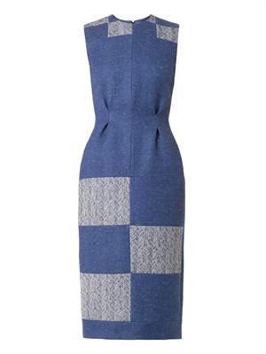 Ida patchwork herringbone dress