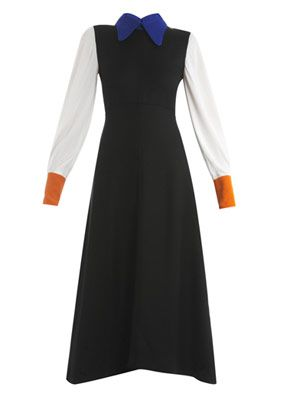 Oste contrast collar and sleeve dress