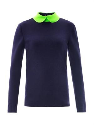 Dayton wool jersey collar top