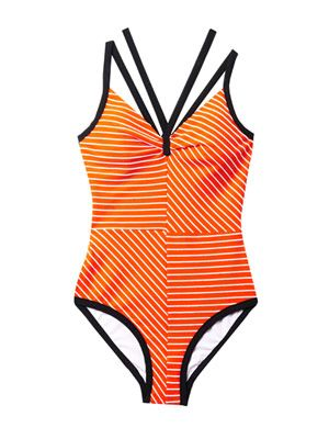 Olinda V-neck striped swimsuit