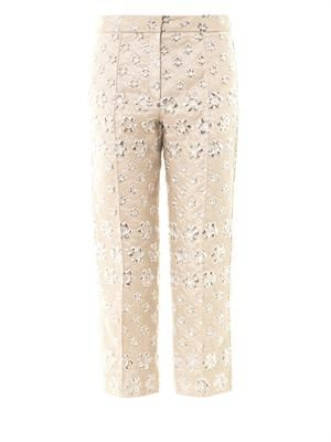 Montague floral jacquard trousers