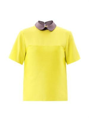 Estes silk-crepe collar blouse