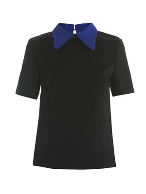 Dayton contrast collar and sleeve top