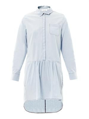 Gathered chambray shirt dress