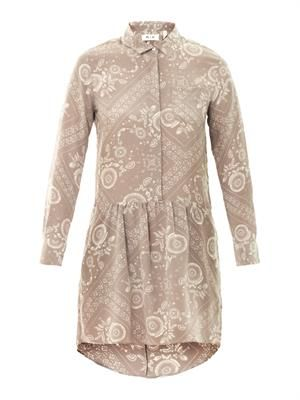 Bandana-print silk shirt dress