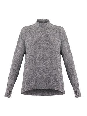 High-neck alpaca knit sweater