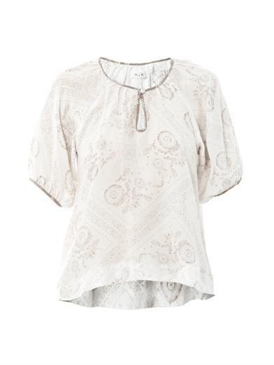 MiH Jeans Bandana-print silk blouse