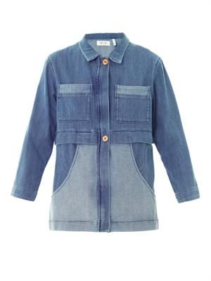 Denim patchwork parka