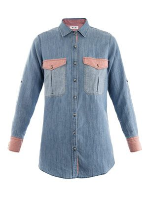 Contrast panel chambray shirt