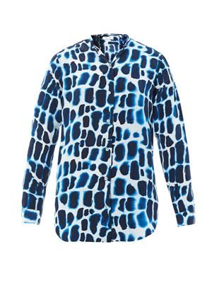 Crocodile-print silk shirt