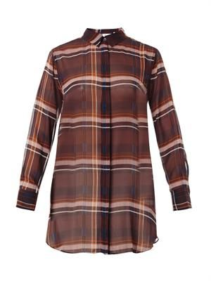 The Oversized check silk shirt