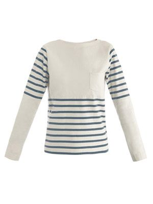 Crew-neck stripe jersey top