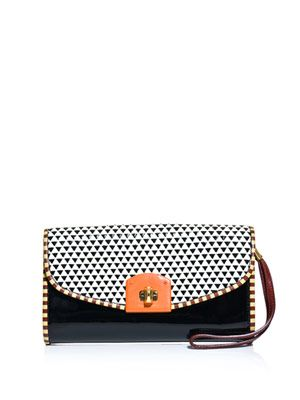 Contrast leather clutch
