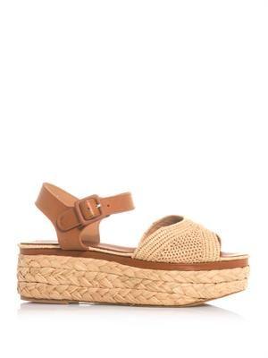 Ardan leather and raffia flatform sandals