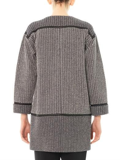 Rebecca Taylor Leather-trim tweed coat