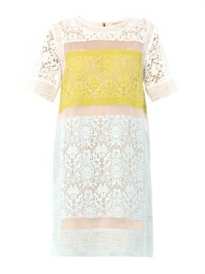 Colour-block lace dress