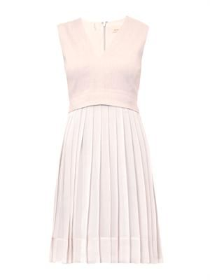 Pleated-skirt V-neck dress