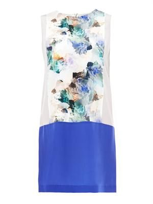 Enchanted Garden-print silk shift dress