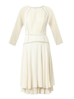 Lace-trimmed crepe dress