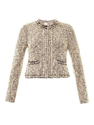 Embellished-neckline tweed jacket