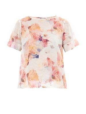 Enchanted Garden-print voile T-shirt