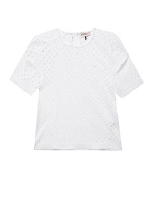 Diamond-eyelet broderie-anglaise T-shirt