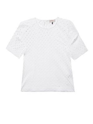Diamond-eyelet broderie-anglaise T-shirt