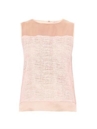 Rebecca Taylor Net-lace sleeveless blouse