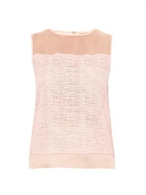 Net-lace sleeveless blouse