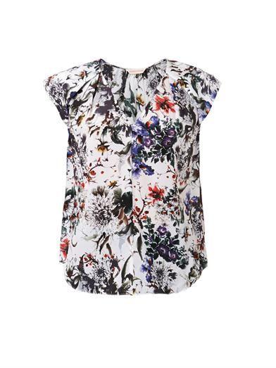 Rebecca Taylor Grey Garden-print silk top