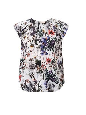 Grey Garden-print silk top