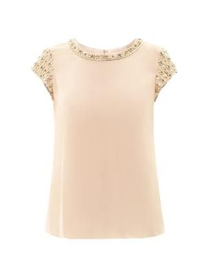 Embellished silk top