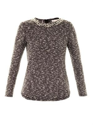 Embellished-neckline knitted top
