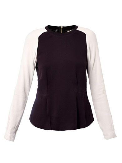 Rebecca Taylor Contrast sleeve crepe blouse