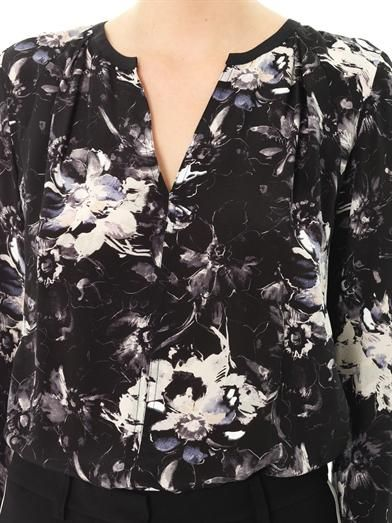Rebecca Taylor Floral-print silk blouse