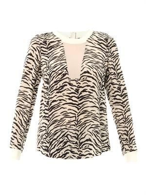 Tiger-print silk top
