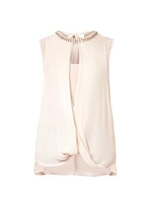 Embellished draped silk top