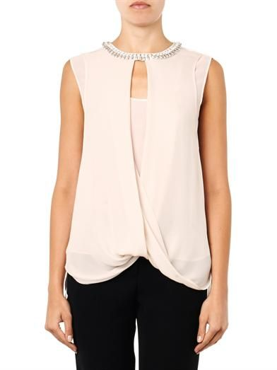 Rebecca Taylor Embellished draped silk top