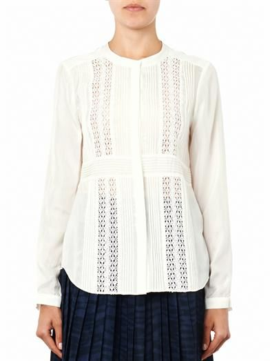 Rebecca Taylor Lace-panel silk blouse