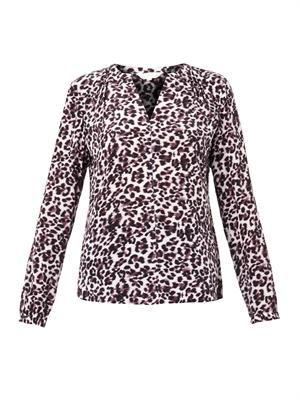 Lynx-print silk blouse