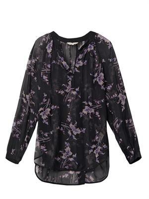 Grapevine-print silk-chiffon blouse