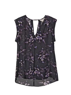 Grapevine-print silk-crepe blouse