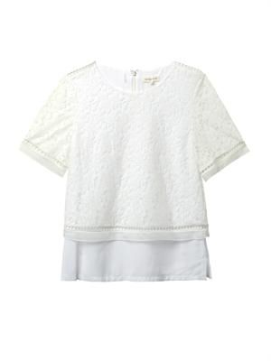 Lace-overlay crepe blouse