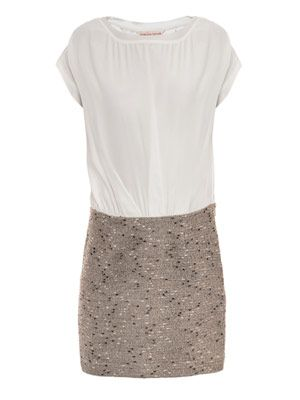 Metallic tweed drape dress